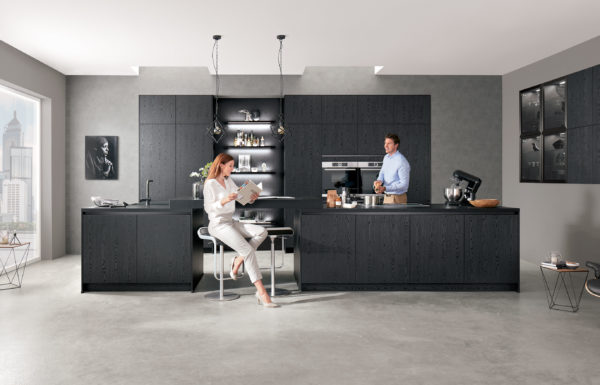 Nobilia Structura kitchen in black with led highlights in an bright open plan space