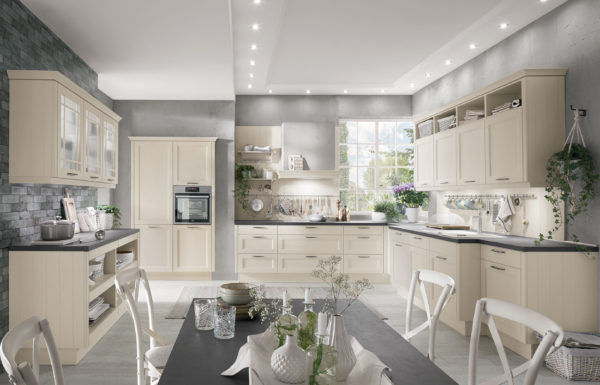York Kitchen by Nobilia in Laquered Ivory I with cabinets on both sides of the room.