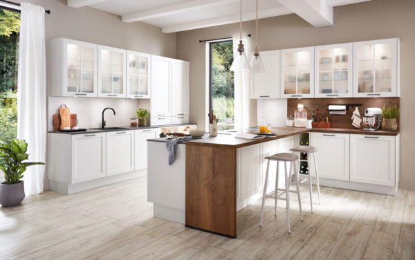 Nobilia Nordic 782 classic style kitchen in white with beautiful wood accents.