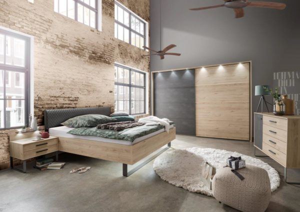 Wiemann Brussels bedroom in Holm Oak and Slate Grey including bed, wardrobe, chest of drawers and bedside tables