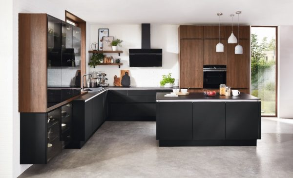 Riva Kitchen by Nobilia in Lacquered black and walnut including LED accents.